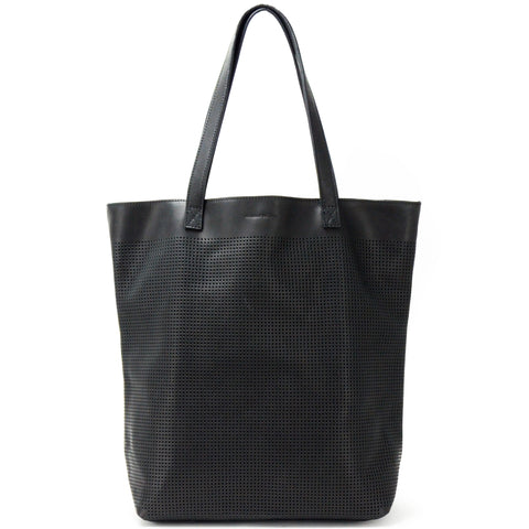 Orado Perforated Leather Tote Black