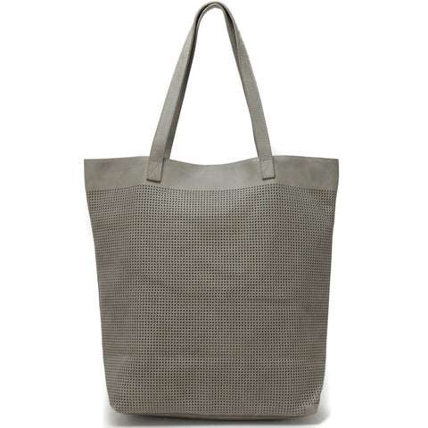 Orado Perforated Leather Tote Grey