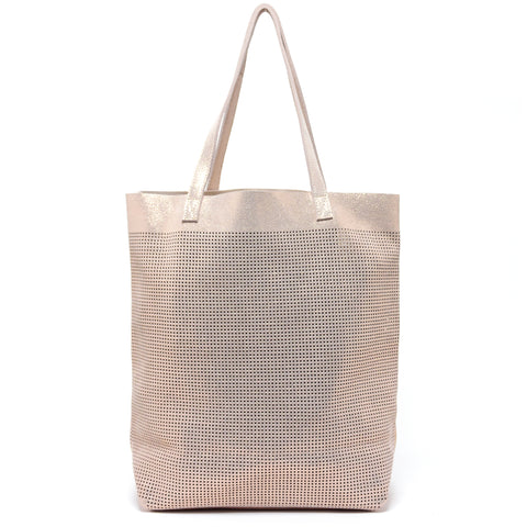 Orado Perforated Shimmer Tote Rose Gold