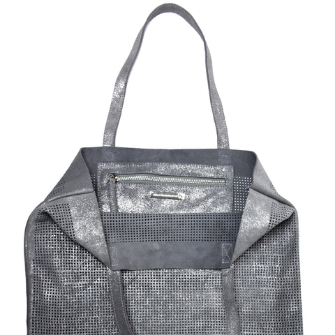 Orado Perforated Shimmer Tote Silver