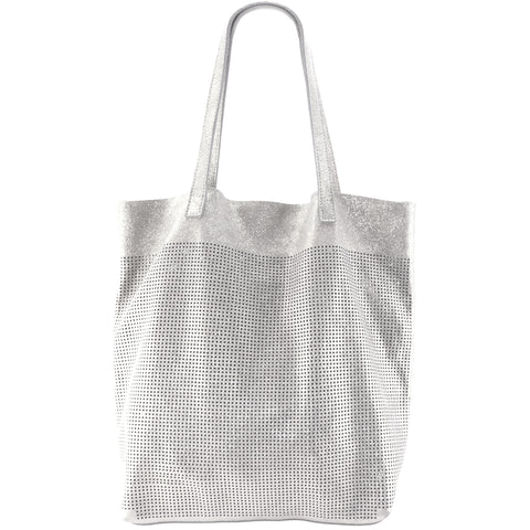 Orado Perforated Shimmer Tote Opal