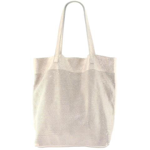 Orado Perforated Shimmer Tote Sand