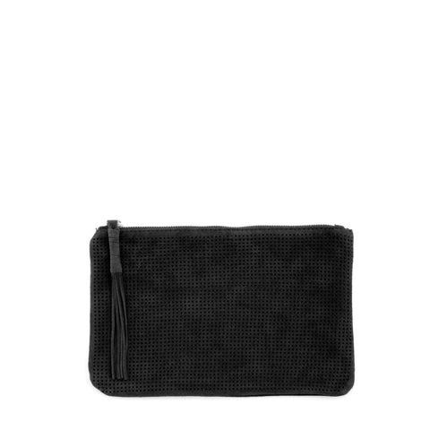 Orado Perforated Suede Pouch Large Black
