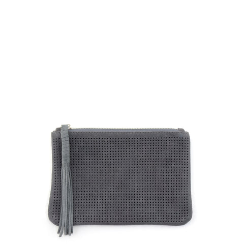 Orado Perforated Suede Pouch Large Grey