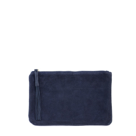Orado Perforated Suede Pouch Large Navy