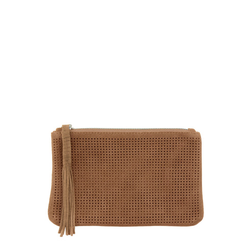 Orado Perforated Suede Pouch Large Tan