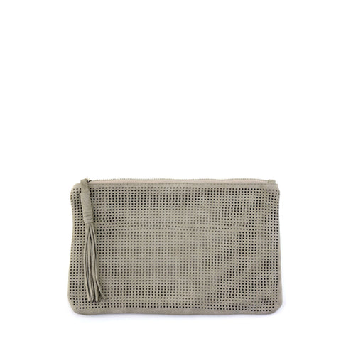 Orado Perforated Suede Pouch Large Taupe