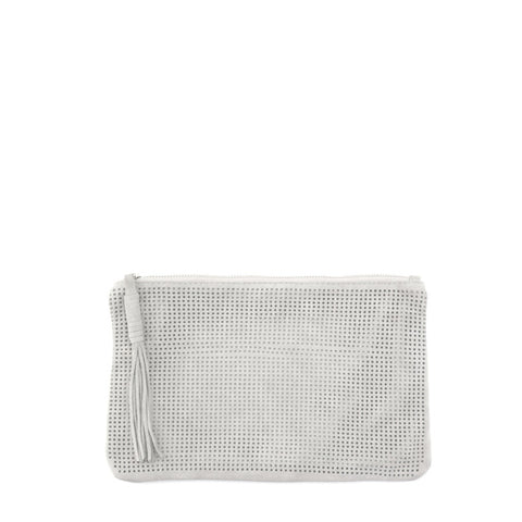 Orado Perforated Suede Pouch Large White