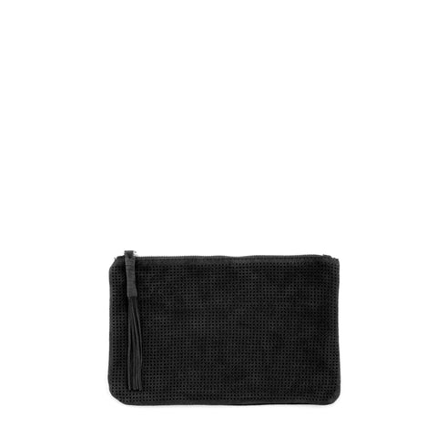 Orado Perforated Suede Pouch Small Black