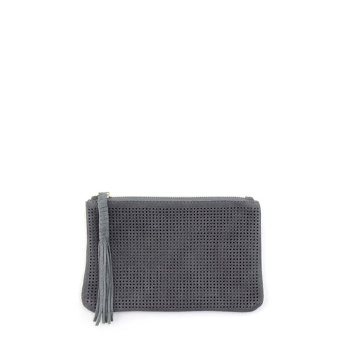 Orado Perforated Suede Pouch Small Grey