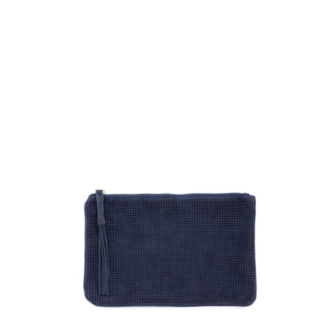 Orado Perforated Suede Pouch Small Navy