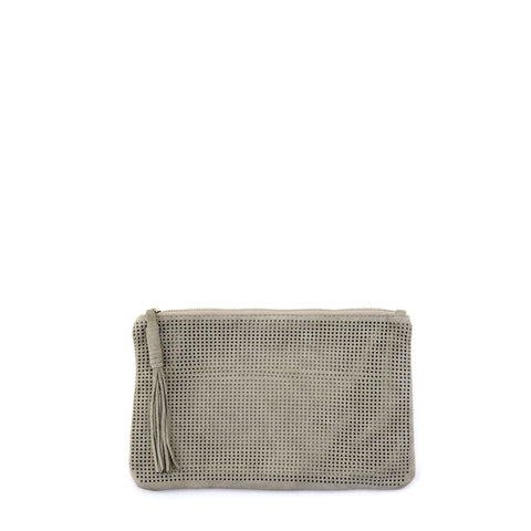 Orado Perforated Suede Pouch Small Taupe