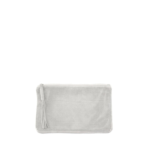 Orado Perforated Suede Pouch Small White