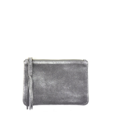 Orado Perforated Shimmer Pouch Large Silver