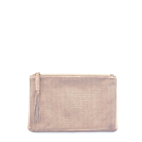 Orado Perforated Shimmer Pouch Large Rose Gold