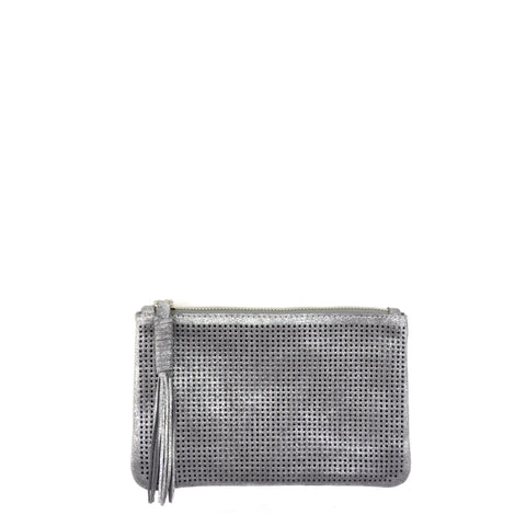 Orado Perforated Shimmer Pouch Small Silver