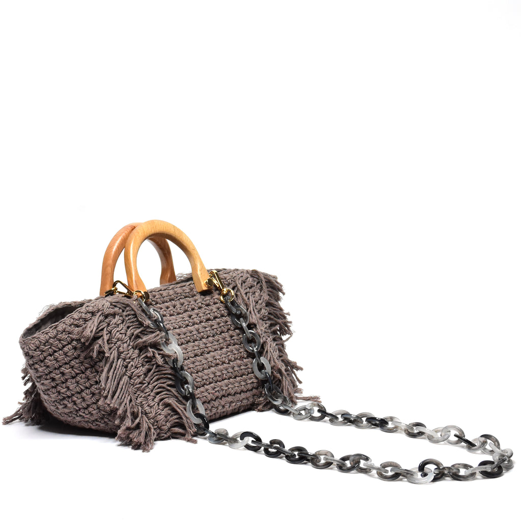 Philomena Crochet Crossbody Taupe