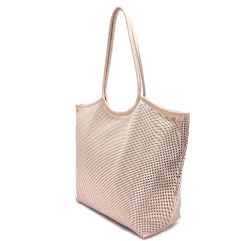 Rico Perforated Shimmer Tote Rose Gold