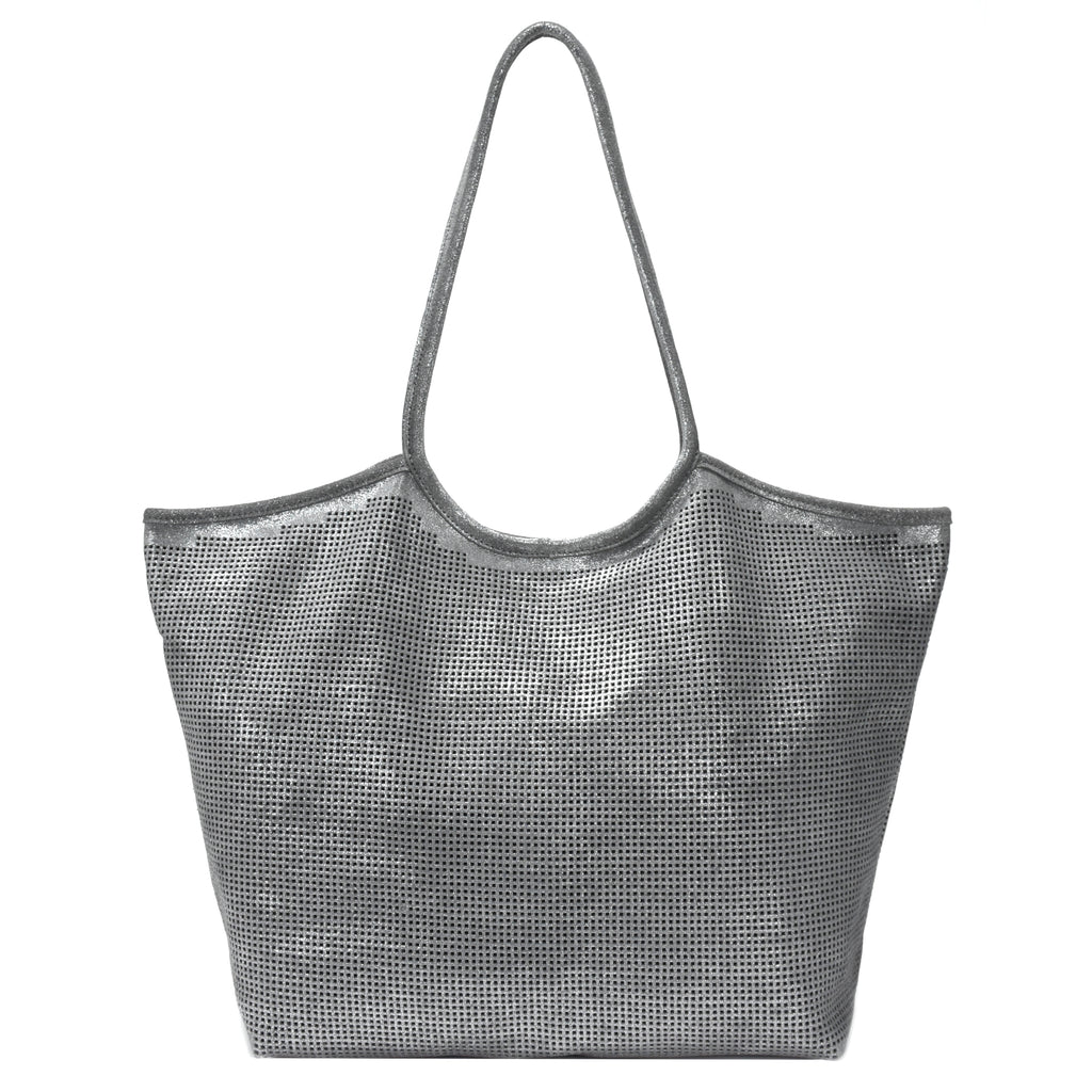 Rico Perforated Shimmer Tote Silver