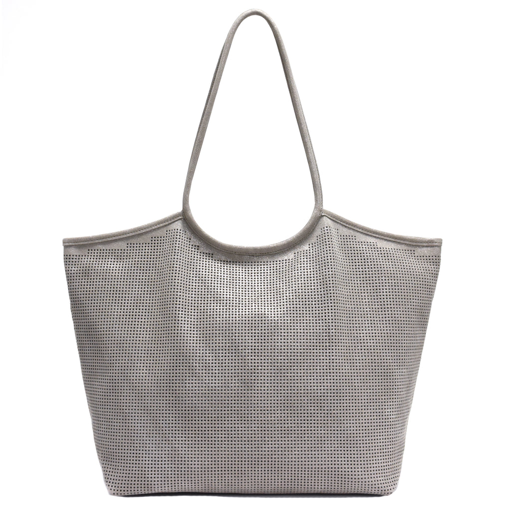Rico Perforated Shimmer Tote Taupe