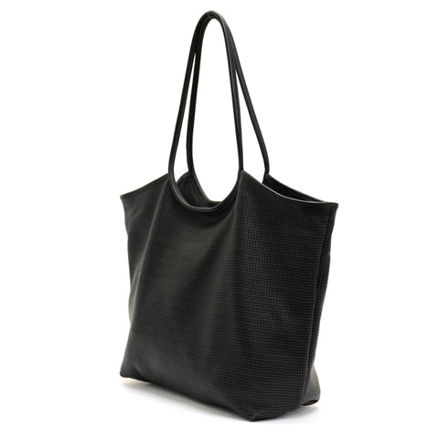 Rico Perforated Leather Tote Black