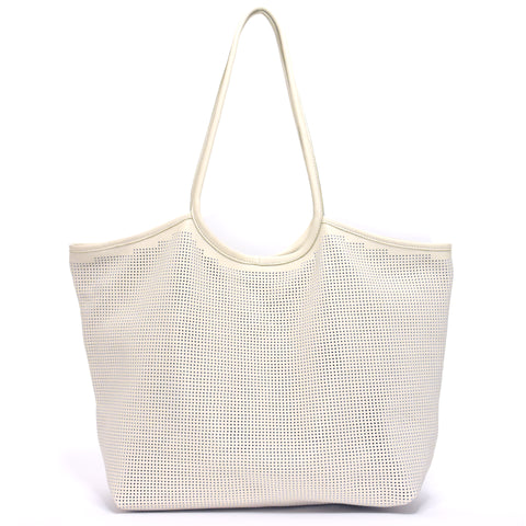 Rico Perforated Leather Tote Cream