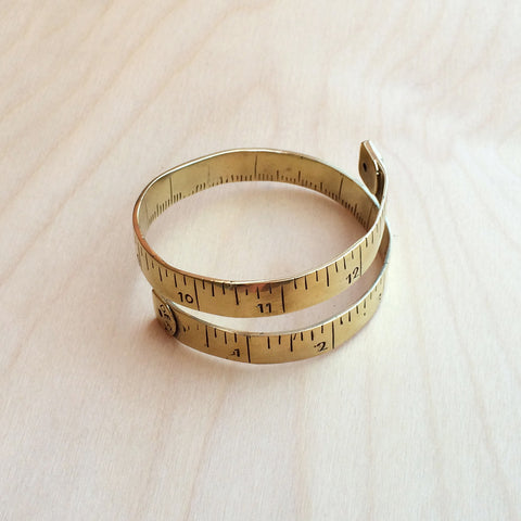 Measuring Tape Brass Bracelet
