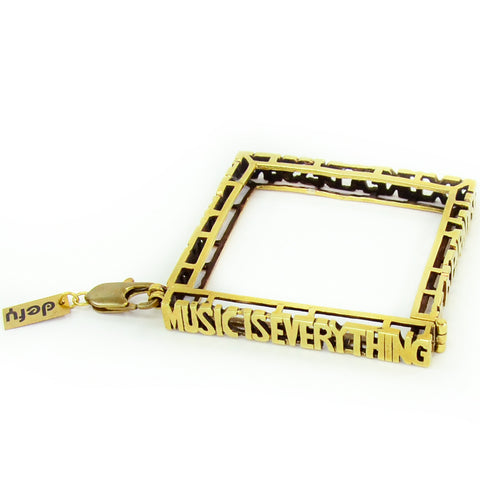 Music is Everything Brass Bracelet