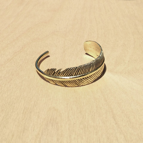 Feather Brass Bracelet