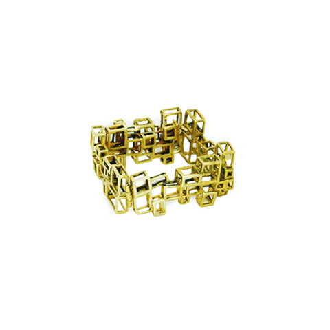 Stacked Cubes Brass Bracelet