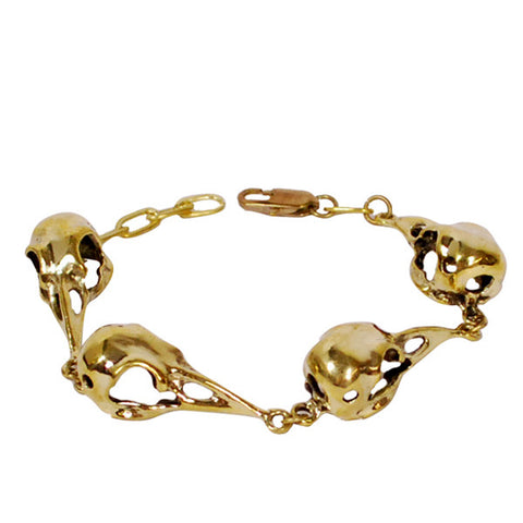 Four Bird Skull Brass Bracelet