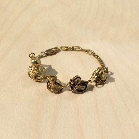 Peekaboo Duck Skeletons in a Row Brass Bracelet
