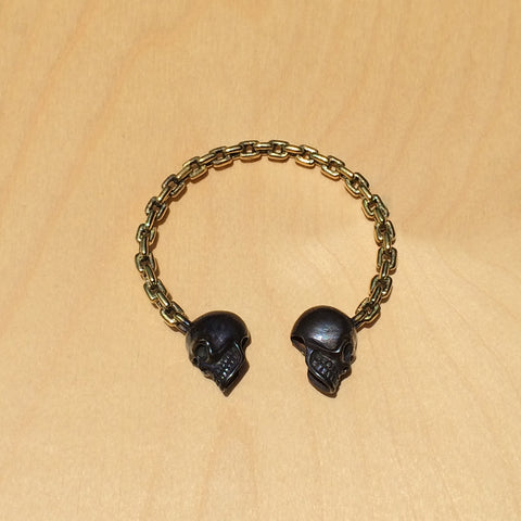 Two Skull and Chain Brass Bracelet