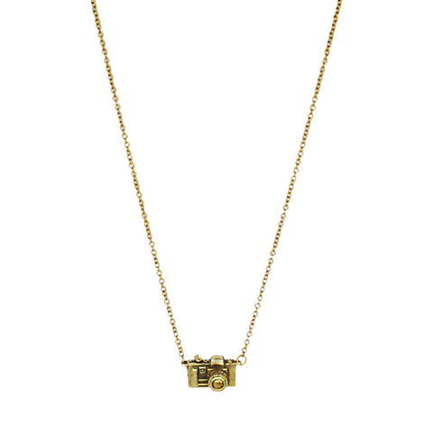 35 MM Camera Brass Necklace