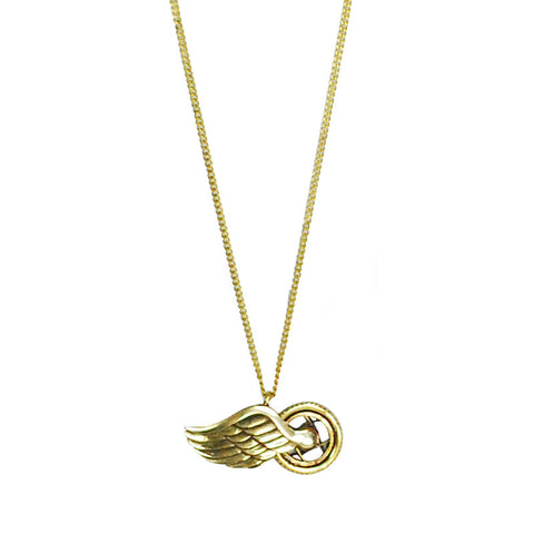 Angel Wing On Wheel Brass Necklace