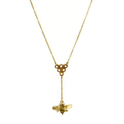 Bee with Honeycomb Brass Necklace