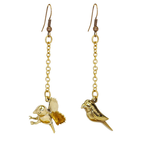 Bird Brass Earrings