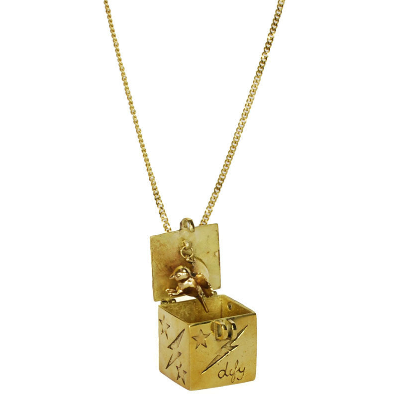 Bird in Box Brass Necklace