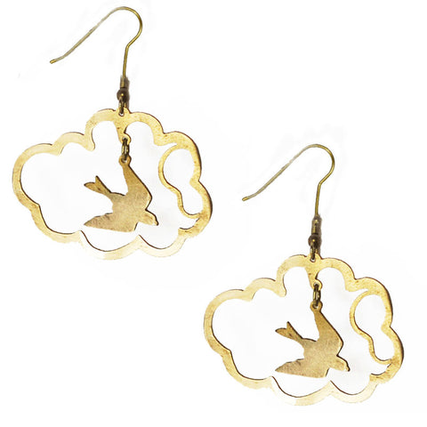 Bird in Cloud Brass Earrings