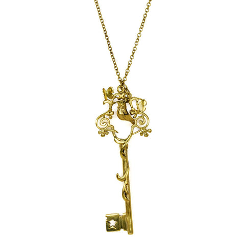 Bird Key Brass Necklace
