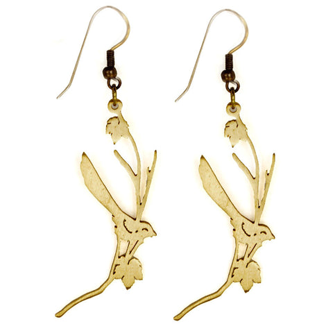 Bird On Branch Brass Earrings