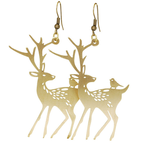 Bird On Deer Brass Earrings