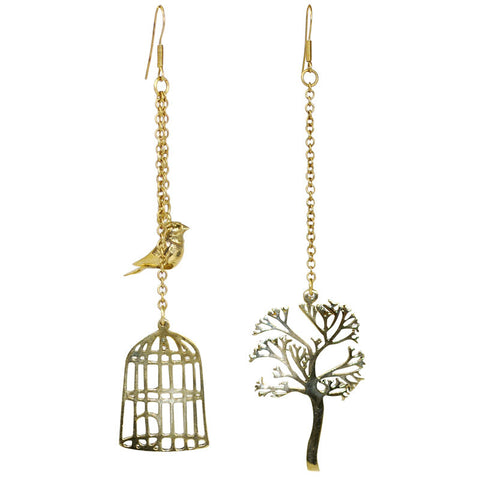 Bird Tree Brass Earrings