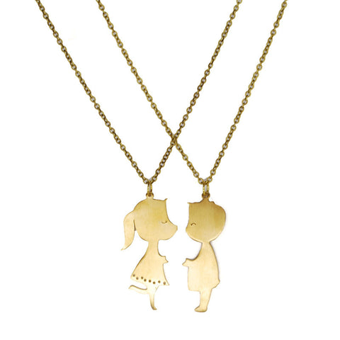 Boy and Girl Kissing 2pc Brass Necklace Set