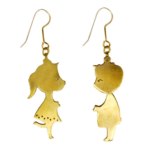 Boy and Girl Kissing Brass Earrings