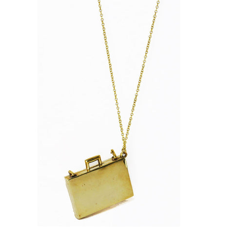 Briefcase Brass Necklace
