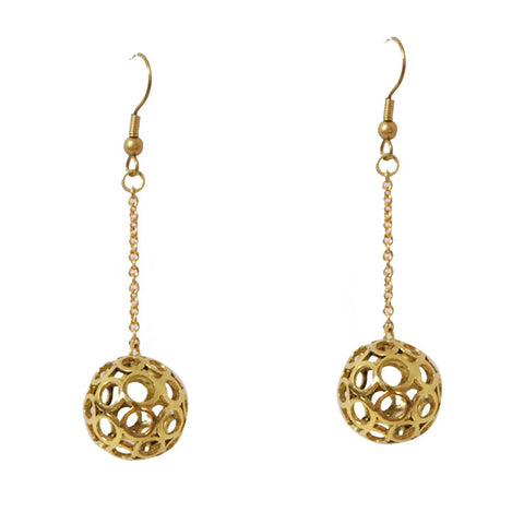 Circle Ball Brass Earrings