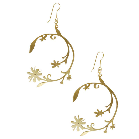Circle Tendril Brass Earrings