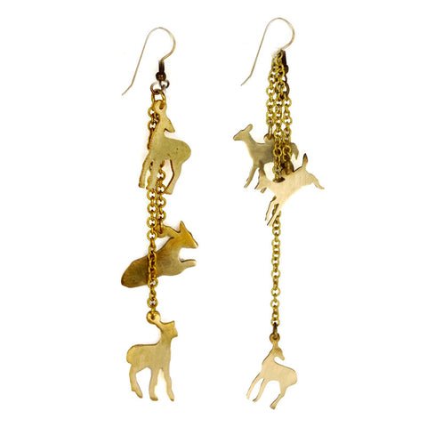 Deer on Chains Brass Earrings