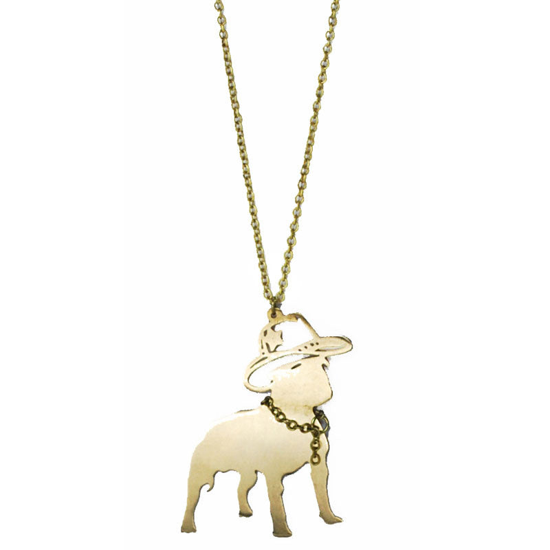Dog with Cowboy Hat Brass Necklace